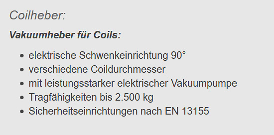 Vakuumheber für Coils